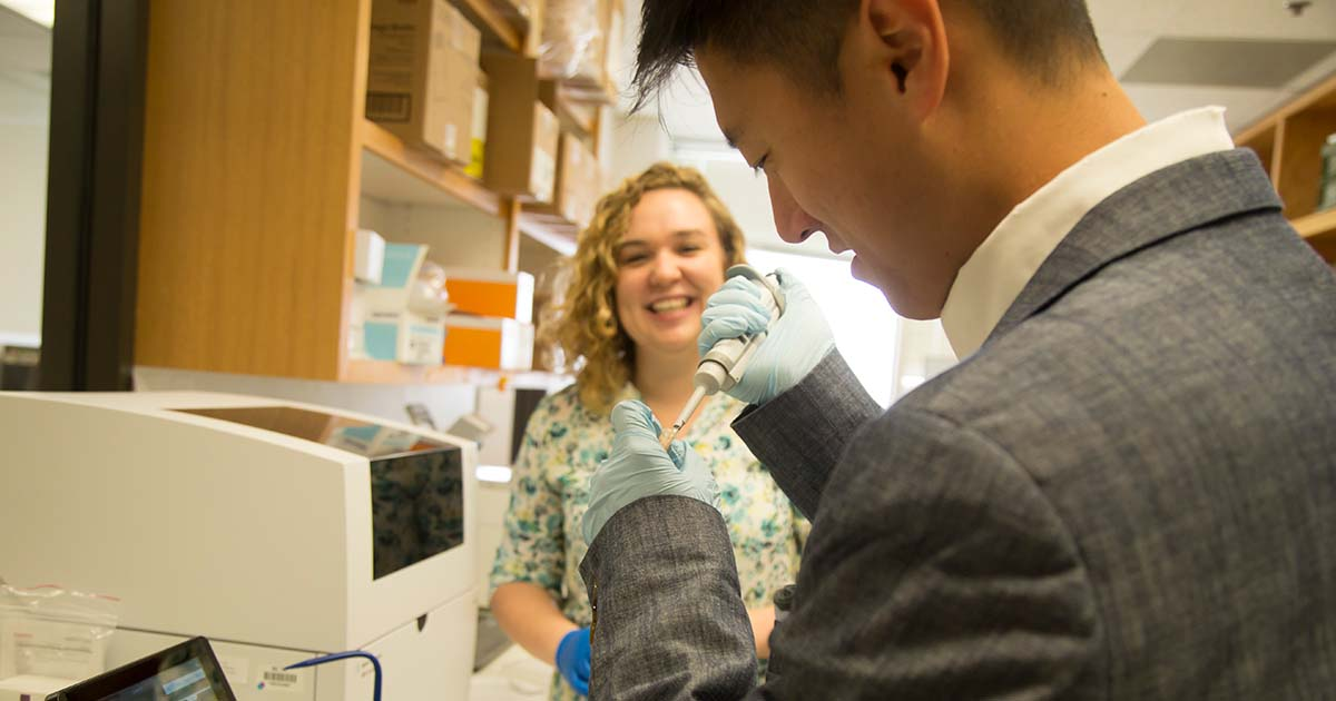 Charles Lin and Hadley Sheppard conducting brachyury research at Baylor College of Medicine